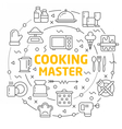 lines icons circle cooking master vector image