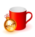 Red Cup and Christmas Ball vector image
