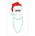 Red Santa Claus Hat beard and glasses vector image