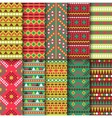 Set of seamless colorful geometric style design vector image