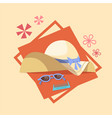 sun glasses and straw hat icon summer sea vacation vector image