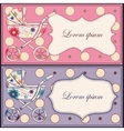 Vintage set of cards with baby carriages vector image