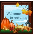 Welcome to autumn card with autumn set vector image