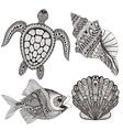 Zentangle stylized black sea shells fish and vector image