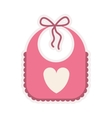 Pink bib with heart silhouette vector image