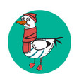 funny cartoon seagull sick vector image