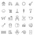 Farming line icons on white background vector image