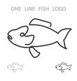 Fish One Line Logo Minimalism Style Logotype vector image vector image
