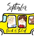 School bus Kids riding on school bus Handwritten vector image