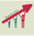 business people hold arrow teamwork concept vector image