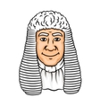 Cartoon old judge in white wig vector image