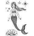 hand sketched beautiful sea mermaid vector image