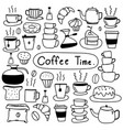 line hand drawn doodle set of coffee vector image