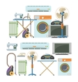 set of home electronics objects isolated on vector image