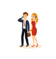 Guy and girl talking on the phone vector image