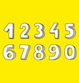 White numbers isolated on yellow background vector image