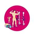 Bodybuilding Sport Concept Icon Flat Design vector image