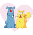 Cat and Dog Cartoon Mascots vector image