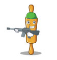 army rolling pin character cartoon vector image