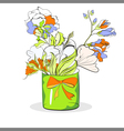 bucket with flowers on white vector image