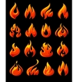 Fire flames set 3d red icons on a black ground vector image