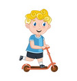 little boy riding on kick scooter vector image