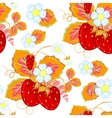 strawberries and flowers wrapping seamless vector image