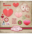 Valentine day labels and icons elements collection vector image