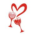 Valentines day card glasses heart vector image