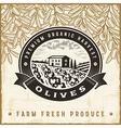 Vintage olive harvest label vector image