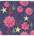 marine flowers vintage seamless pattern on dark vector image vector image