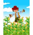 Scarecrow standing in corn field vector image