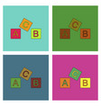 flat icon design collection toy blocks vector image vector image