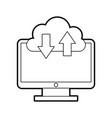 Computer desktop with cloud computing vector image