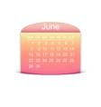 Calendar June 2015 vector image vector image
