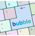 button with bubble word on computer keyboard keys vector image