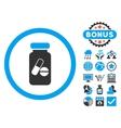 Drugs Phial Flat Icon with Bonus vector image