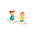 flat girl and boy runnin catch-up vector image
