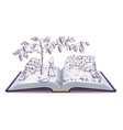 Fox and grapes open book fable vector image