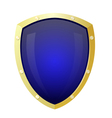 Golden shield with a blue background Isolate vector image