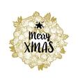 Golden wreath and Merry Xmas vector image