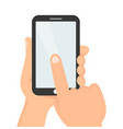 hands hold smartphonefinger touch vector image