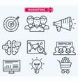 marketing flat line icons training development vector image