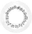 music notes border musical frame background vector image