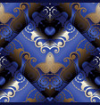 paisley 3d seamless pattern dark blue floral vector image