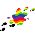 print feet in a puddle of rainbow vector image