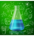 test tube and hand draw school icon vector image
