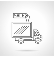 Van for sale flat line design icon vector image