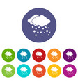 cloud and snow set icons vector image vector image