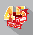 45th Years Anniversary Celebration Design vector image